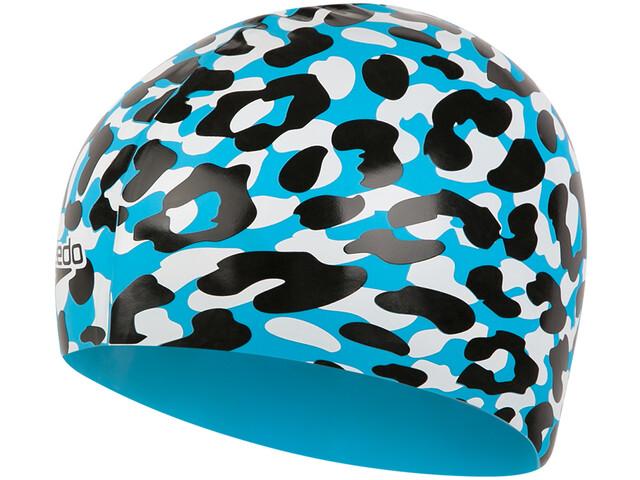 speedo Slogan Bonnet à motif Enfant, turquoise/black/white
